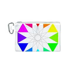 Rainbow Dodecagon And Black Dodecagram Canvas Cosmetic Bag (s)