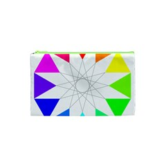 Rainbow Dodecagon And Black Dodecagram Cosmetic Bag (XS)