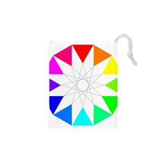 Rainbow Dodecagon And Black Dodecagram Drawstring Pouches (xs)