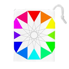 Rainbow Dodecagon And Black Dodecagram Drawstring Pouches (extra Large)