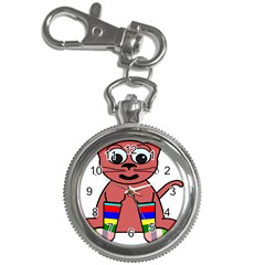 Cartoon Cat In Rainbow Socks Key Chain Watches