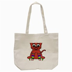 Cartoon Cat In Rainbow Socks Tote Bag (cream)