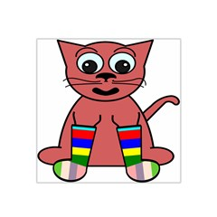 Cartoon Cat In Rainbow Socks Satin Bandana Scarf