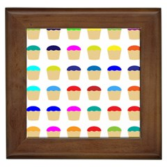 Colorful Cupcakes Pattern Framed Tiles