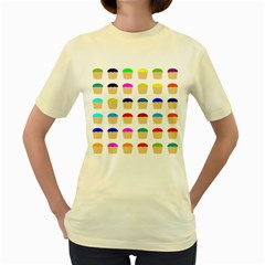 Colorful Cupcakes Pattern Women s Yellow T-Shirt