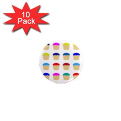 Colorful Cupcakes Pattern 1  Mini Magnet (10 Pack)