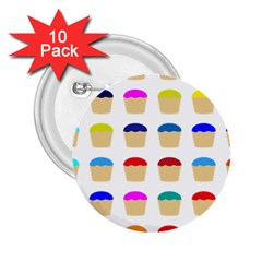 Colorful Cupcakes Pattern 2 25  Buttons (10 Pack)