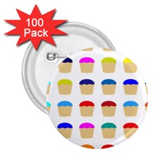 Colorful Cupcakes Pattern 2 25  Buttons (100 Pack)