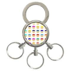 Colorful Cupcakes Pattern 3 Ring Key Chains