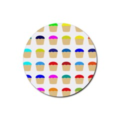 Colorful Cupcakes Pattern Rubber Coaster (round)
