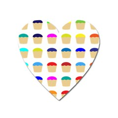 Colorful Cupcakes Pattern Heart Magnet