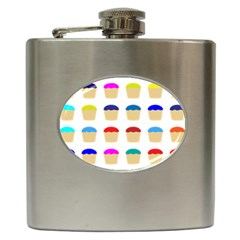 Colorful Cupcakes Pattern Hip Flask (6 Oz)