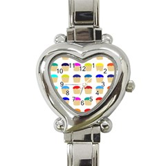 Colorful Cupcakes Pattern Heart Italian Charm Watch