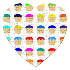 Colorful Cupcakes Pattern Jigsaw Puzzle (heart)