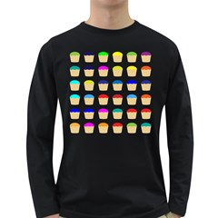 Colorful Cupcakes Pattern Long Sleeve Dark T Shirts