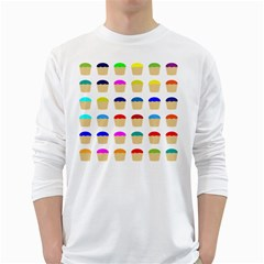 Colorful Cupcakes Pattern White Long Sleeve T Shirts