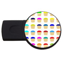 Colorful Cupcakes Pattern Usb Flash Drive Round (4 Gb)