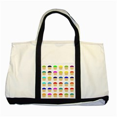 Colorful Cupcakes Pattern Two Tone Tote Bag