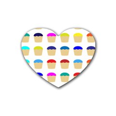 Colorful Cupcakes Pattern Rubber Coaster (Heart)