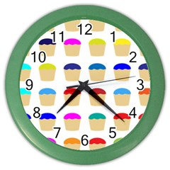 Colorful Cupcakes Pattern Color Wall Clocks