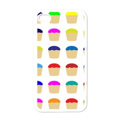 Colorful Cupcakes Pattern Apple iPhone 4 Case (White)