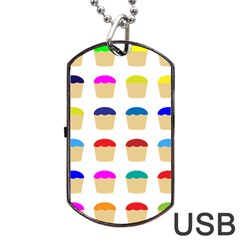 Colorful Cupcakes Pattern Dog Tag USB Flash (Two Sides)
