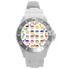 Colorful Cupcakes Pattern Round Plastic Sport Watch (l)