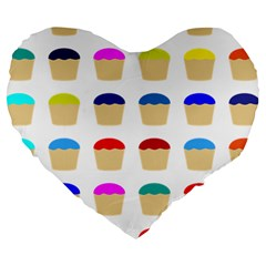 Colorful Cupcakes Pattern Large 19  Premium Heart Shape Cushions