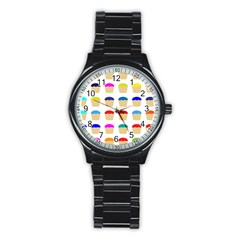 Colorful Cupcakes Pattern Stainless Steel Round Watch