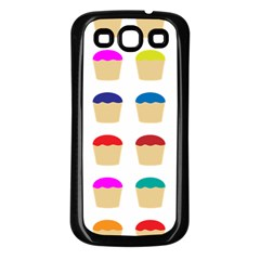 Colorful Cupcakes Pattern Samsung Galaxy S3 Back Case (black)
