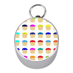 Colorful Cupcakes Pattern Mini Silver Compasses