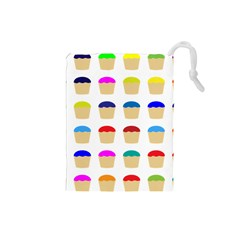 Colorful Cupcakes Pattern Drawstring Pouches (small)