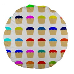 Colorful Cupcakes Pattern Large 18  Premium Flano Round Cushions
