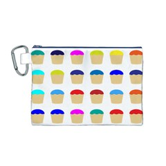 Colorful Cupcakes Pattern Canvas Cosmetic Bag (m)