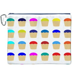 Colorful Cupcakes Pattern Canvas Cosmetic Bag (xxxl)