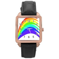 Rainbow Rose Gold Leather Watch