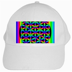 Rainbow Flower Of Life In Black Circle White Cap