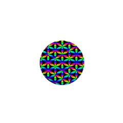 Rainbow Flower Of Life In Black Circle 1  Mini Buttons