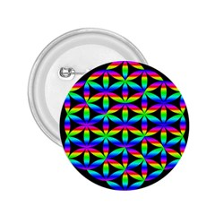Rainbow Flower Of Life In Black Circle 2 25  Buttons