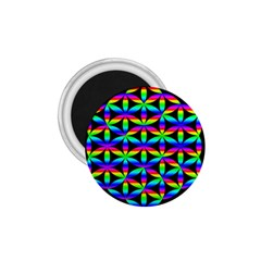Rainbow Flower Of Life In Black Circle 1 75  Magnets