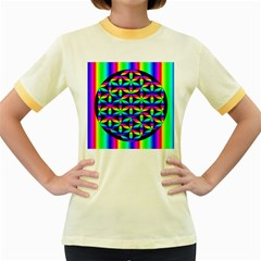 Rainbow Flower Of Life In Black Circle Women s Fitted Ringer T Shirts