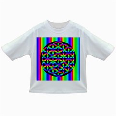 Rainbow Flower Of Life In Black Circle Infant/Toddler T-Shirts