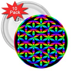 Rainbow Flower Of Life In Black Circle 3  Buttons (10 Pack)