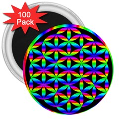 Rainbow Flower Of Life In Black Circle 3  Magnets (100 Pack)