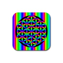 Rainbow Flower Of Life In Black Circle Rubber Square Coaster (4 pack)