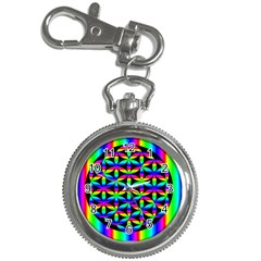 Rainbow Flower Of Life In Black Circle Key Chain Watches