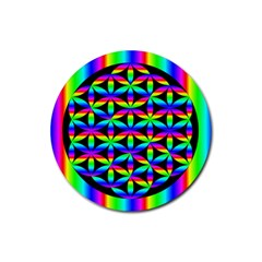 Rainbow Flower Of Life In Black Circle Rubber Coaster (round)