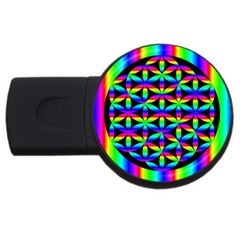 Rainbow Flower Of Life In Black Circle Usb Flash Drive Round (2 Gb)