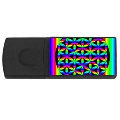 Rainbow Flower Of Life In Black Circle USB Flash Drive Rectangular (1 GB)