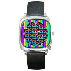 Rainbow Flower Of Life In Black Circle Square Metal Watch